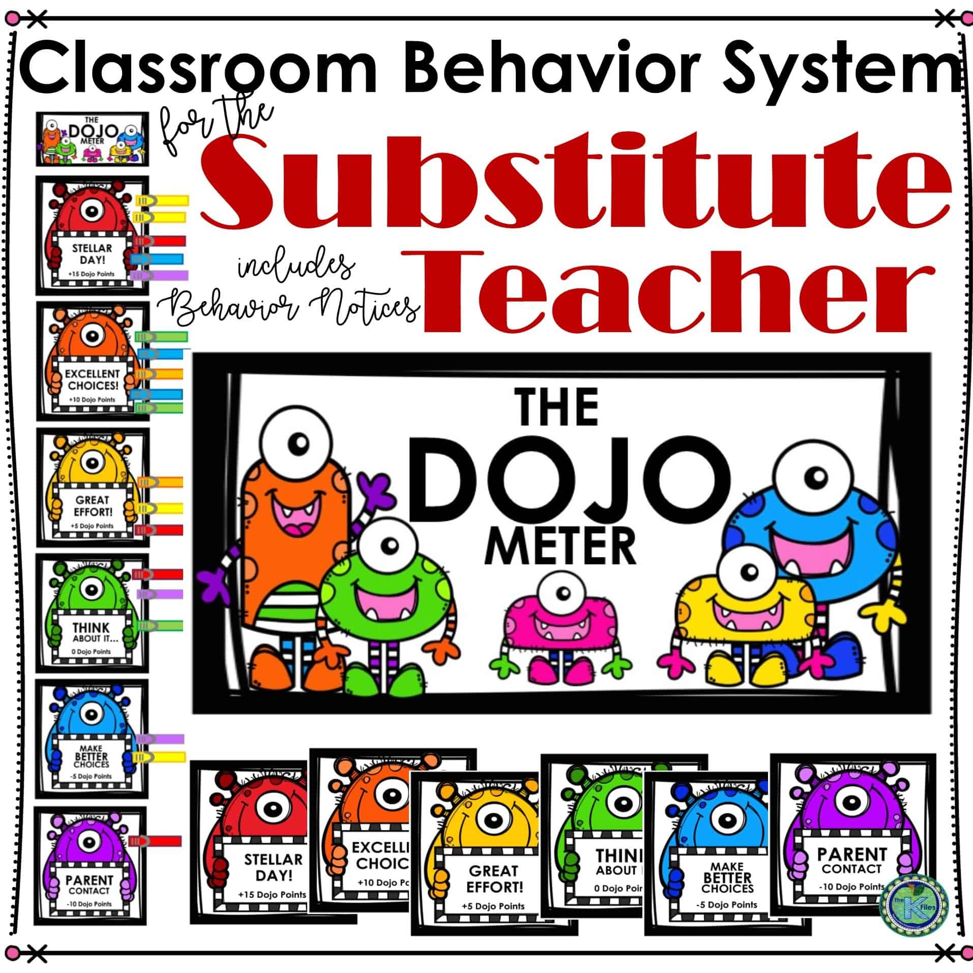 Keep The Dojo Meter in your Sub Tub or alongside your substitute plans. This will hold your students accountable for their behavior in your absence. Your sub will thank you for this classroom behavior management system as they navigate through the school day. Included are 6 monster themed clip charts and title card. As a bonus: included 2 parent contact forms that your substitute may send home to communicate student behaviors.