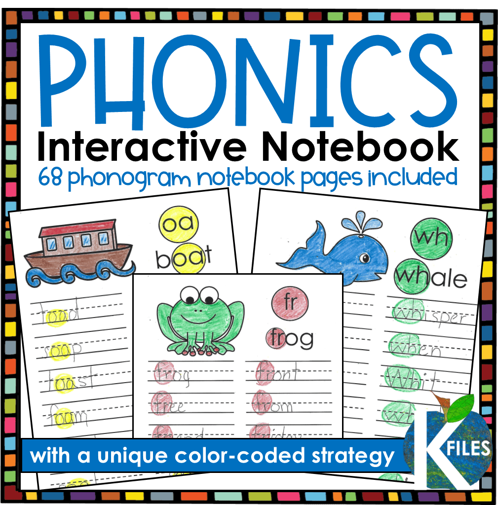 """The Phonics Interactive Notebook uses the """"Gumball Phonics"""" approach: This unique color-coded phonics strategy will keep your young writers and readers engaged and alert for phonics and spelling patterns they are learning in your Word Study program during your literacy block."""