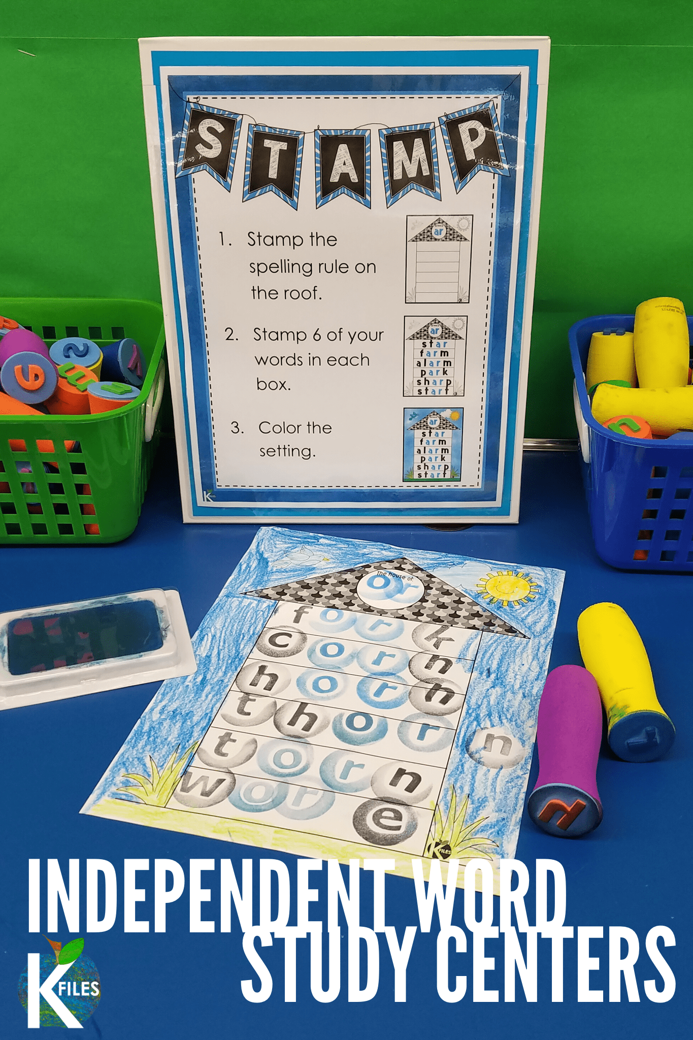 Looking for INDEPENDENT spelling activities for ANY spelling list? These word study center activities and task cards will supplement your Daily 5, Words Their Way and word work centers. The word study activities include magnets, letter tiles, word family houses, rainbow write, story writing and hands on activities. Each activity includes step-by-step VISUAL directions to help your students complete each of these word work activities with accuracy. #spelling #wordstudy #kindergarten #firstgrade