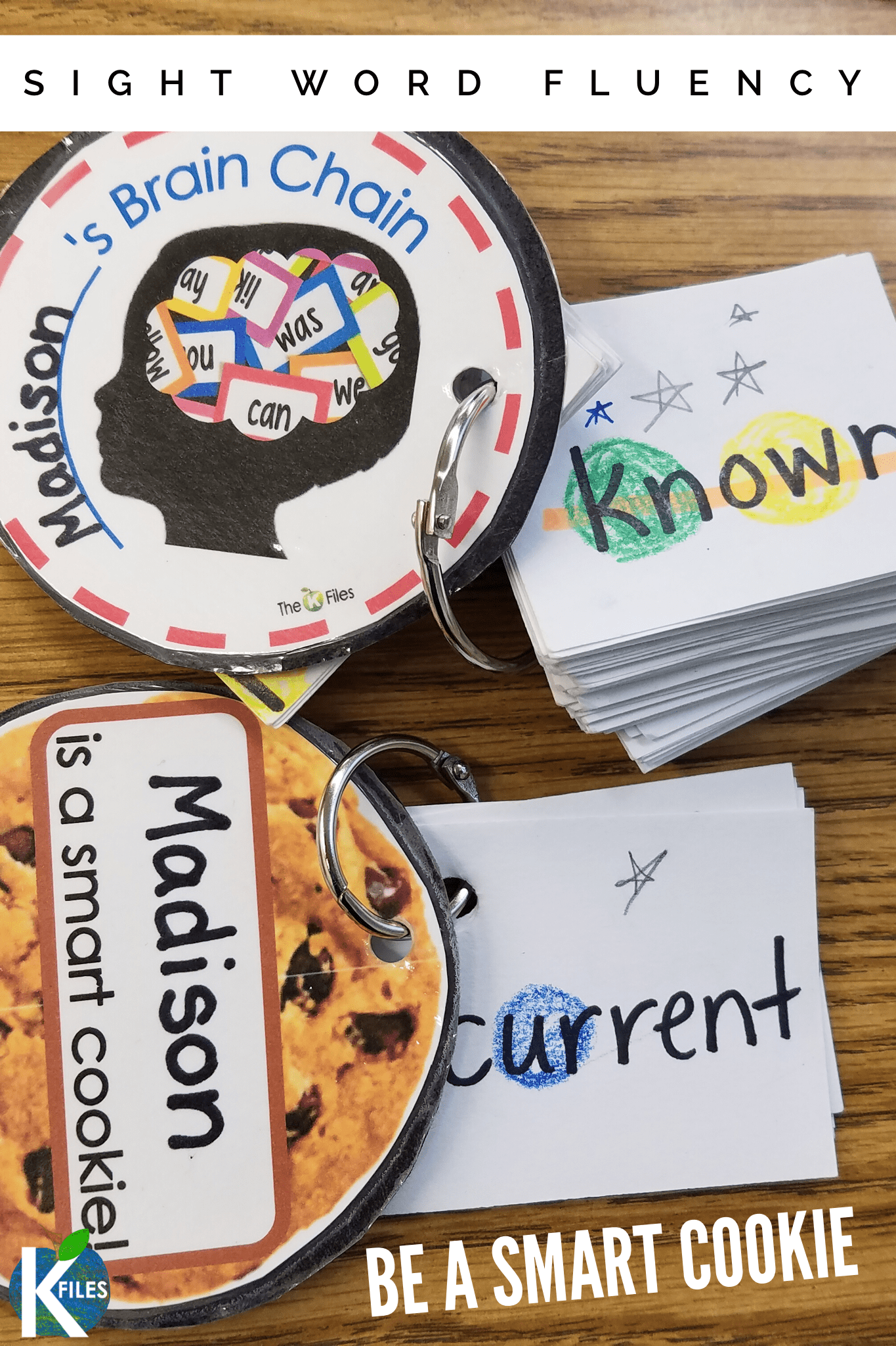 Are you looking to improve your student's sight word fluency? Well, be a smart cookie with these sight word rings, with a fun sight word incentive! Students will be both engaged and motivated with these sight word activities on rings. Meet with your students once a week and assign them with a differentiated sight word list using Fry's or Dolch sight word lists. Watch their sight word knowledge grow in no time. #sightwords #fluency #wordwall #literacy #kindergarten #firstgrade
