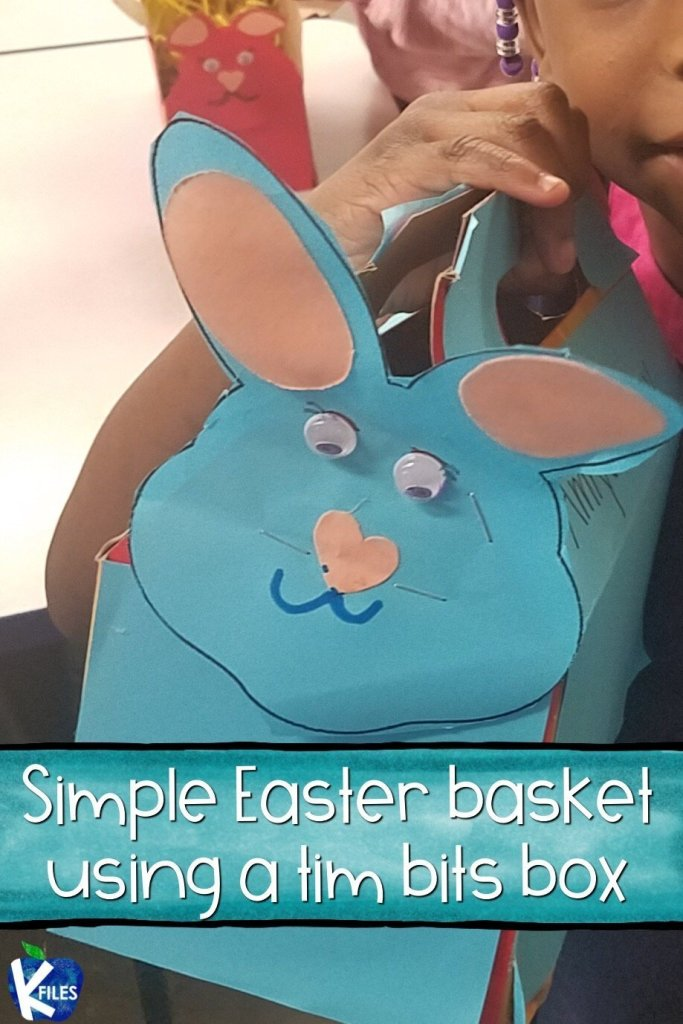 This! This super cute Easter basket craft idea was perfect for my first graders! Lots of storage for an Easter Egg hunt, after the bunny hid the baskets around the classroom filled with Easter treats. I simply used a TimBits box from Tim Hortons and turned it into a Easter Bunny basket! Find more Easter crafts and activities for your classroom by clicking here! #firstgrade