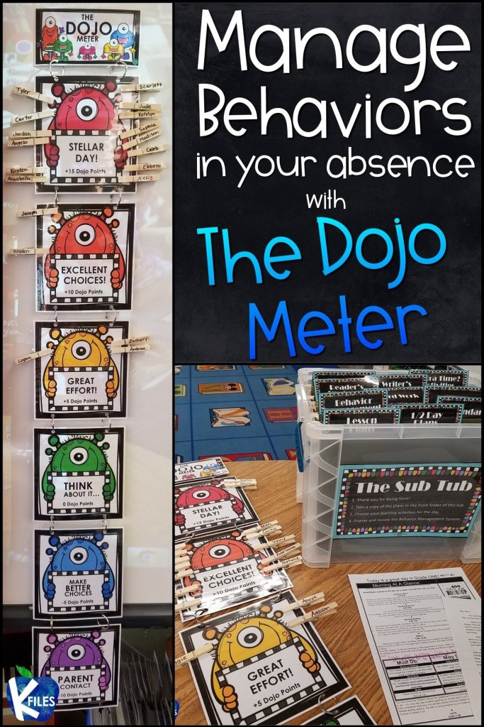 Keep The Dojo Meter in your Sub Tub or alongside your substitute plans. This will hold your students accountable for their behavior in your absence. Your sub will thank you for this classroom behavior management system as they navigate through the school day. Included are 6 monster themed clip charts and title card. As a bonus, I have included 2 parent contact forms that your substitute may send home to communicate student behaviors.