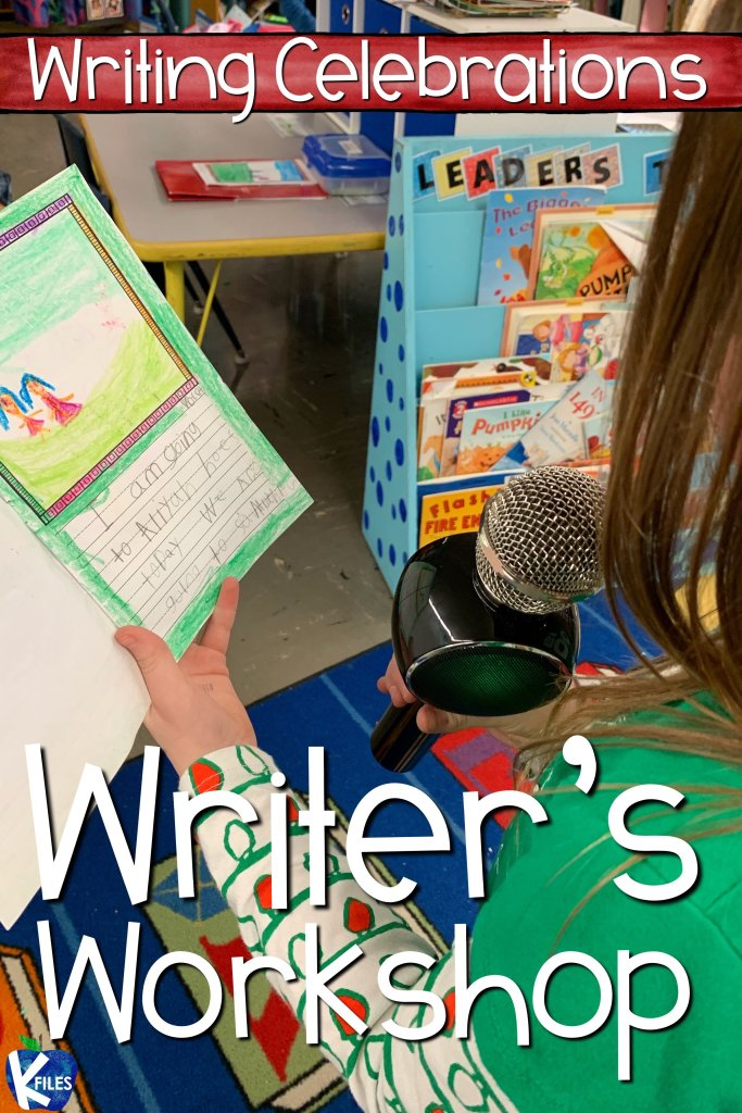 Looking for Writing Celebrations for your Writer's Workshop? You will find 4 tips to celebrate your young authors all year long. From share time, writing portfolios, young author crowns and certificates and using a microphone, your students will look forward to writing workshop with these engaging culminating activities for any writing unit! #writersworkshop #firstgrade
