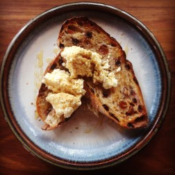 Fig and Walnut Sourdough with housemade ricotta and honey