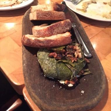 Warm Cow's Cheese, Walnuts in Vine Leaves a la Plancha