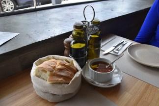 Fresh bread, olive oil and chilli oil