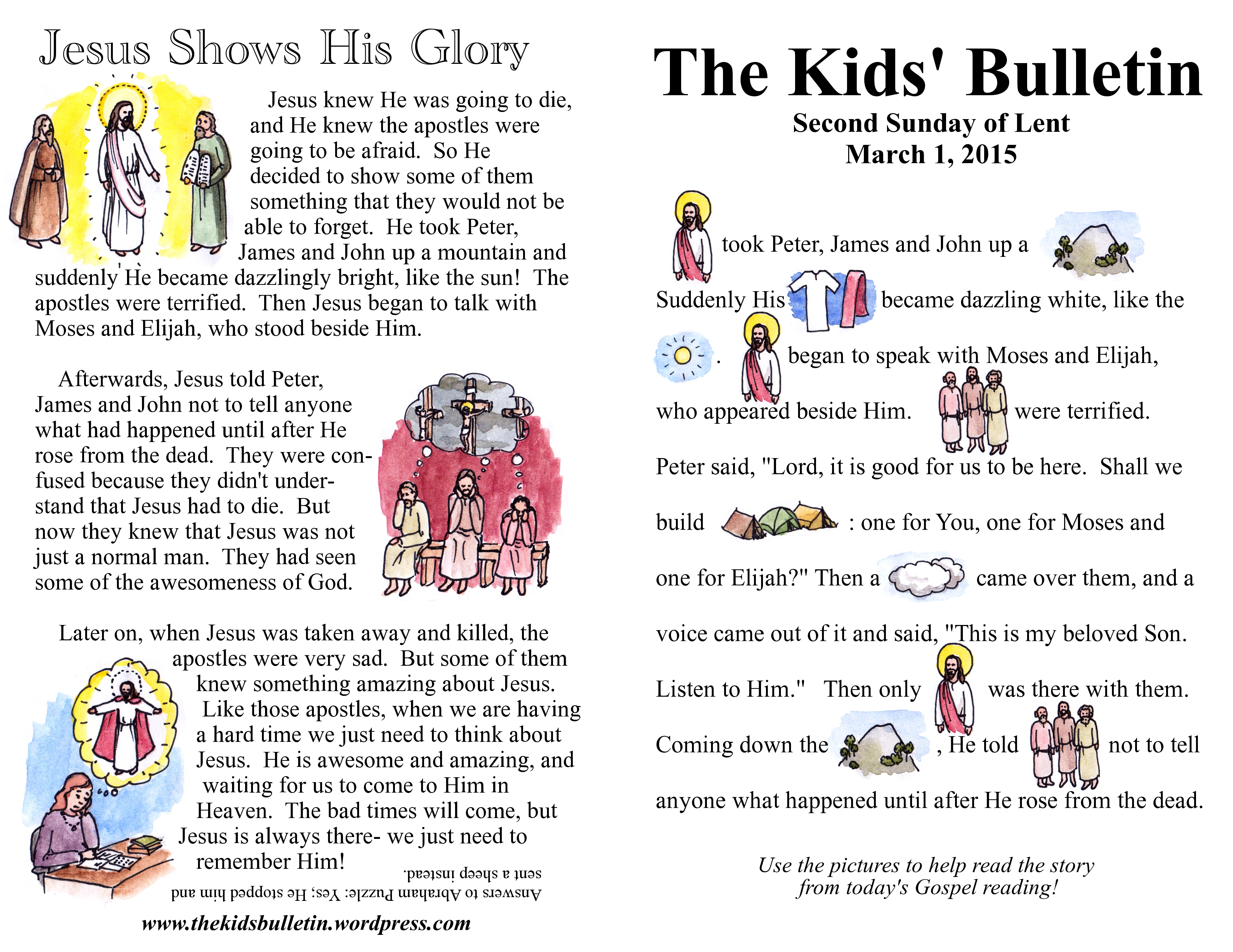 The Kids Bulletin For Sunday March 1