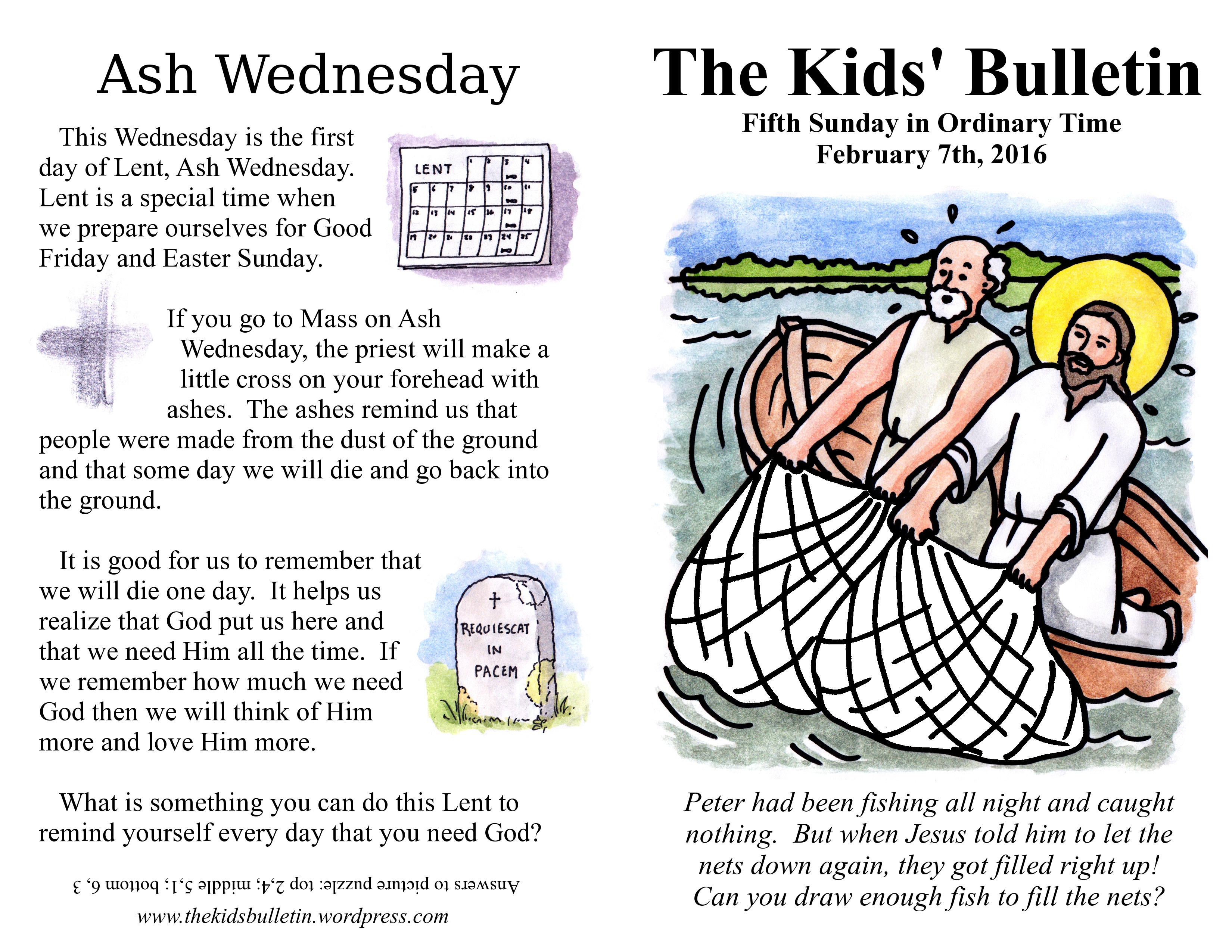 The Kids Bulletin For Sunday February 7th