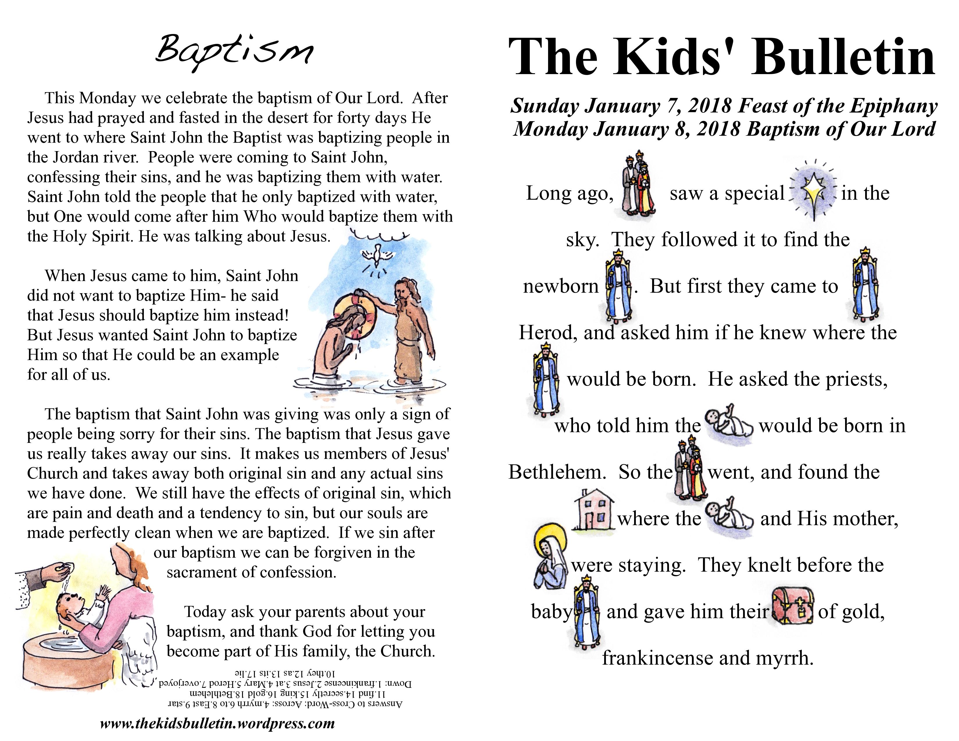 The Kids Bulletin Epiphany And Baptism