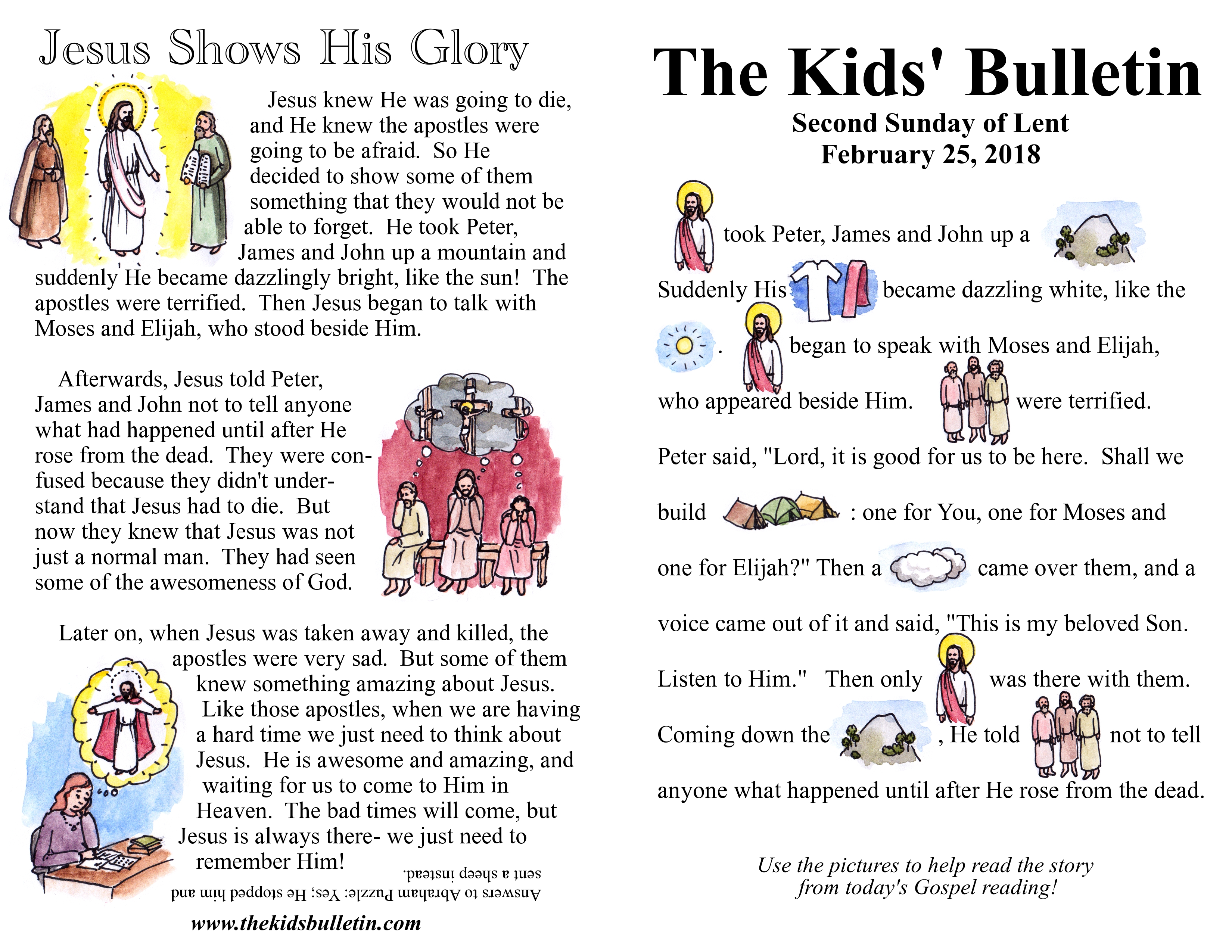 The Kids Bulletin For Sunday February 25th