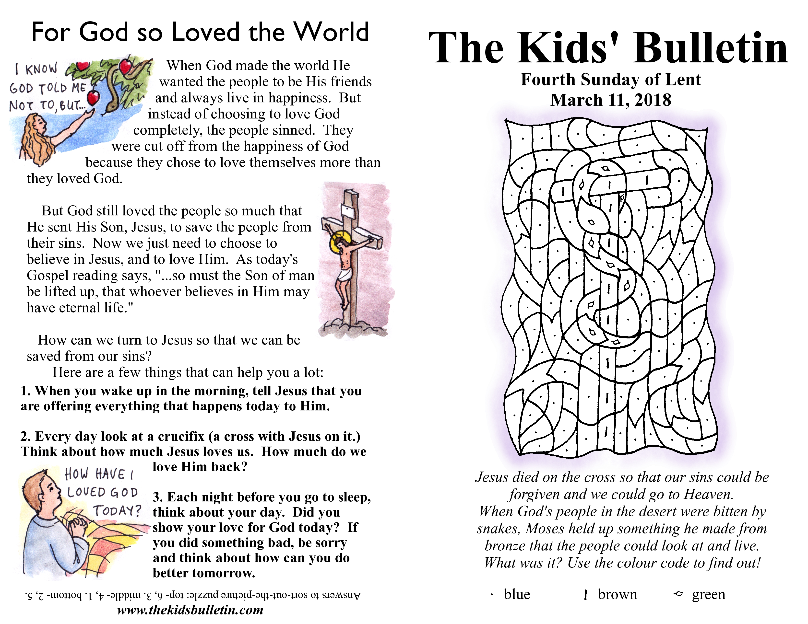 The Kids Bulletin For Sunday March 11th