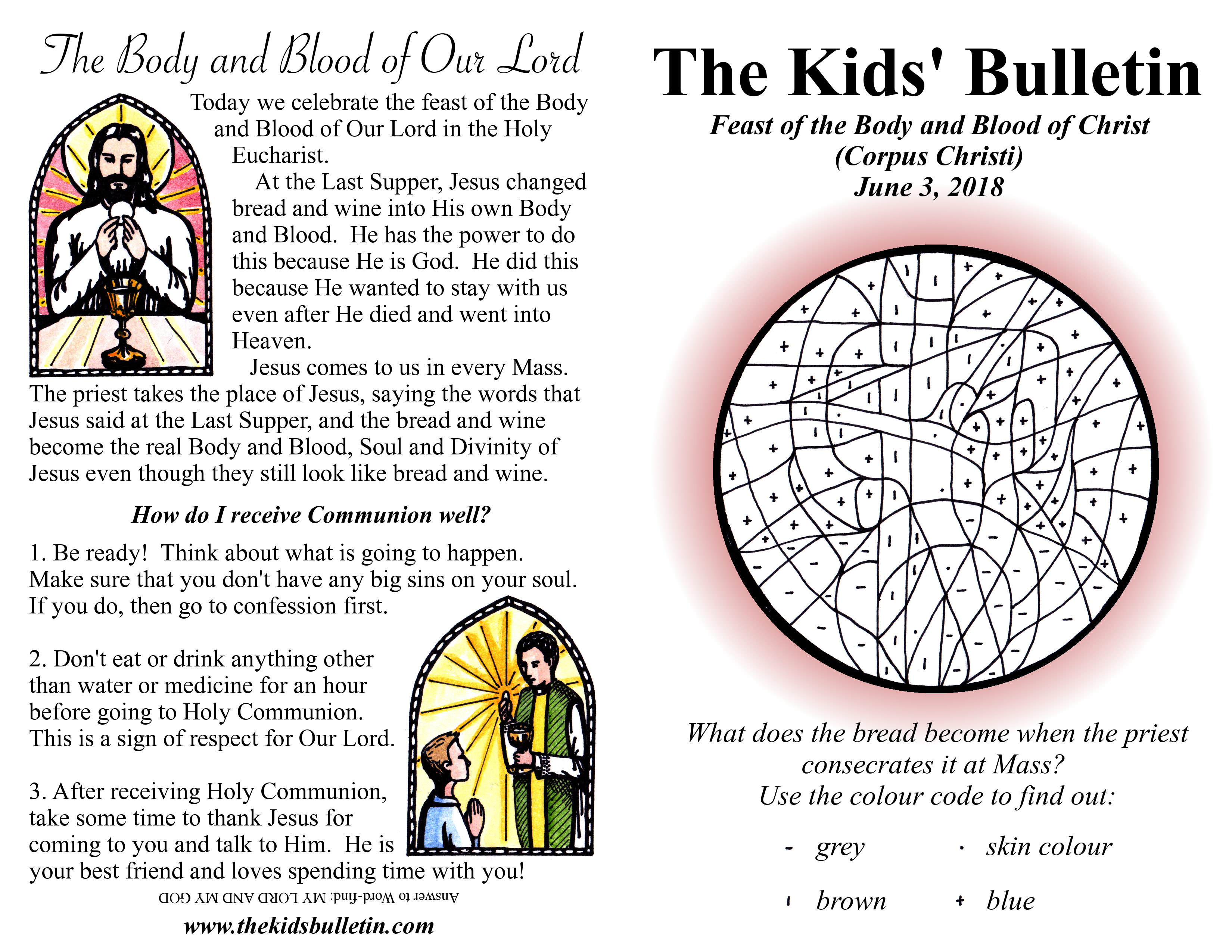 The Kids Bulletin For Sunday June 3 The Body And