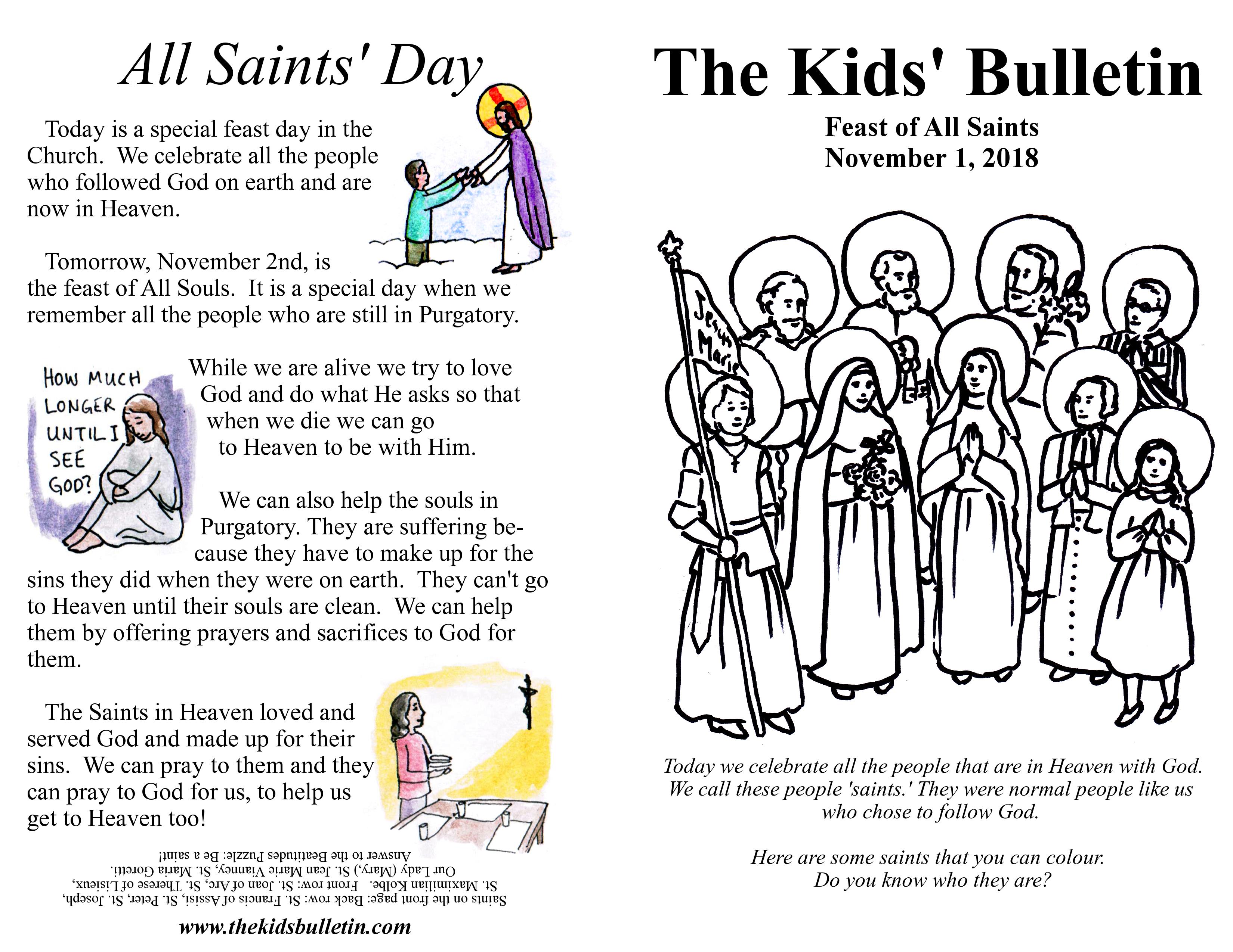 The Kids Bulletin For All Saints November 1