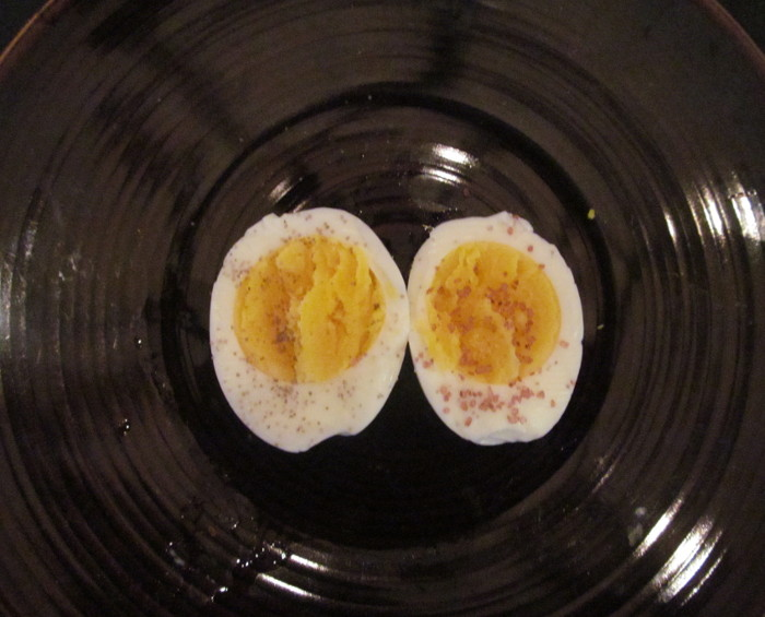 Boiled eggs with Applewood and Hawaiian red salt