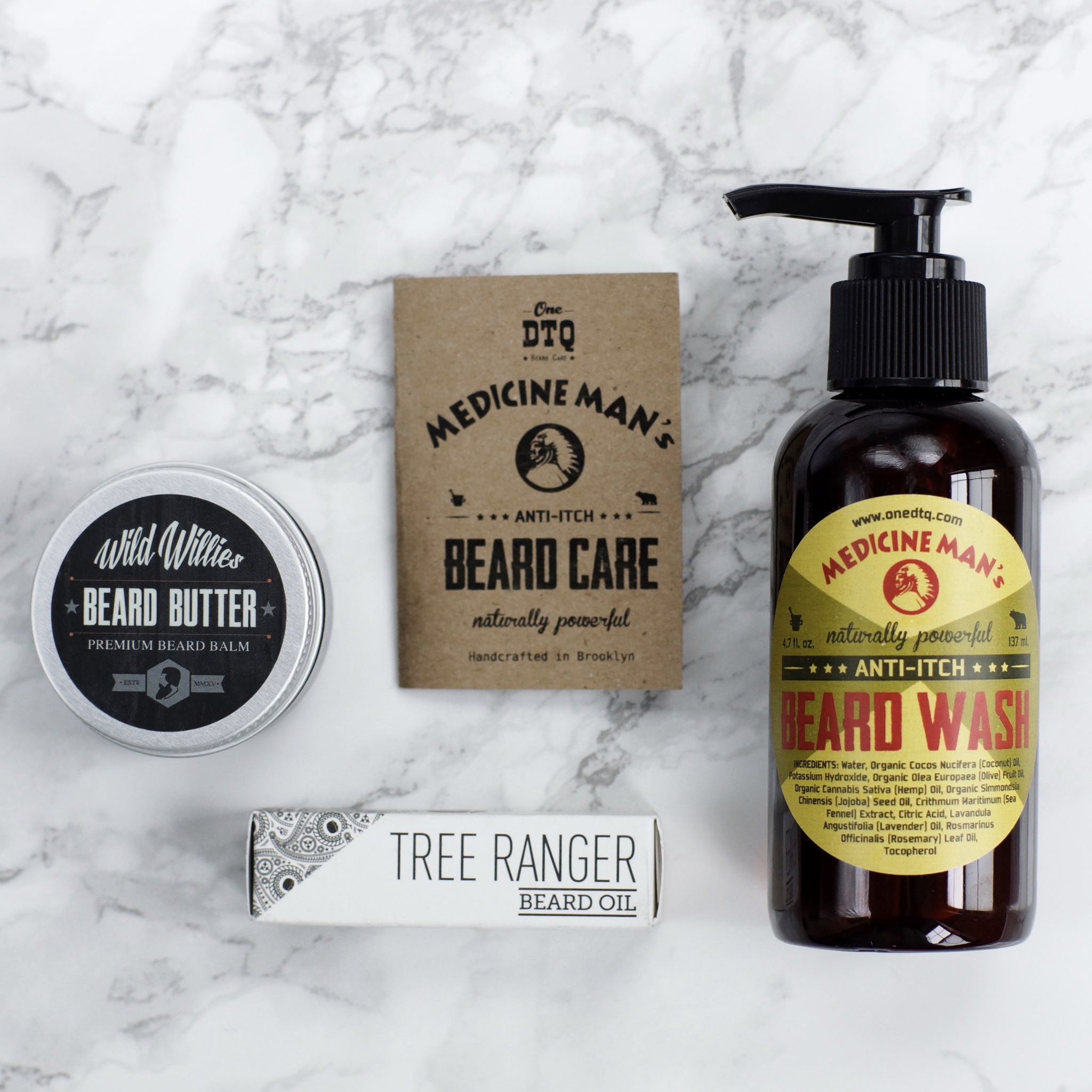 - Beard Wash - DTQ Beard Care - Medicine Man's Anti-Itch Beard Wash - onedtq.com - The Manskape Co. Wild Willies Beard Butter Balm - wild-willies.com - BeardBrand - beardbrand.com - Tree Ranger Beard Oil - Anti Itch - TheKillerLook.com - The Killer Look