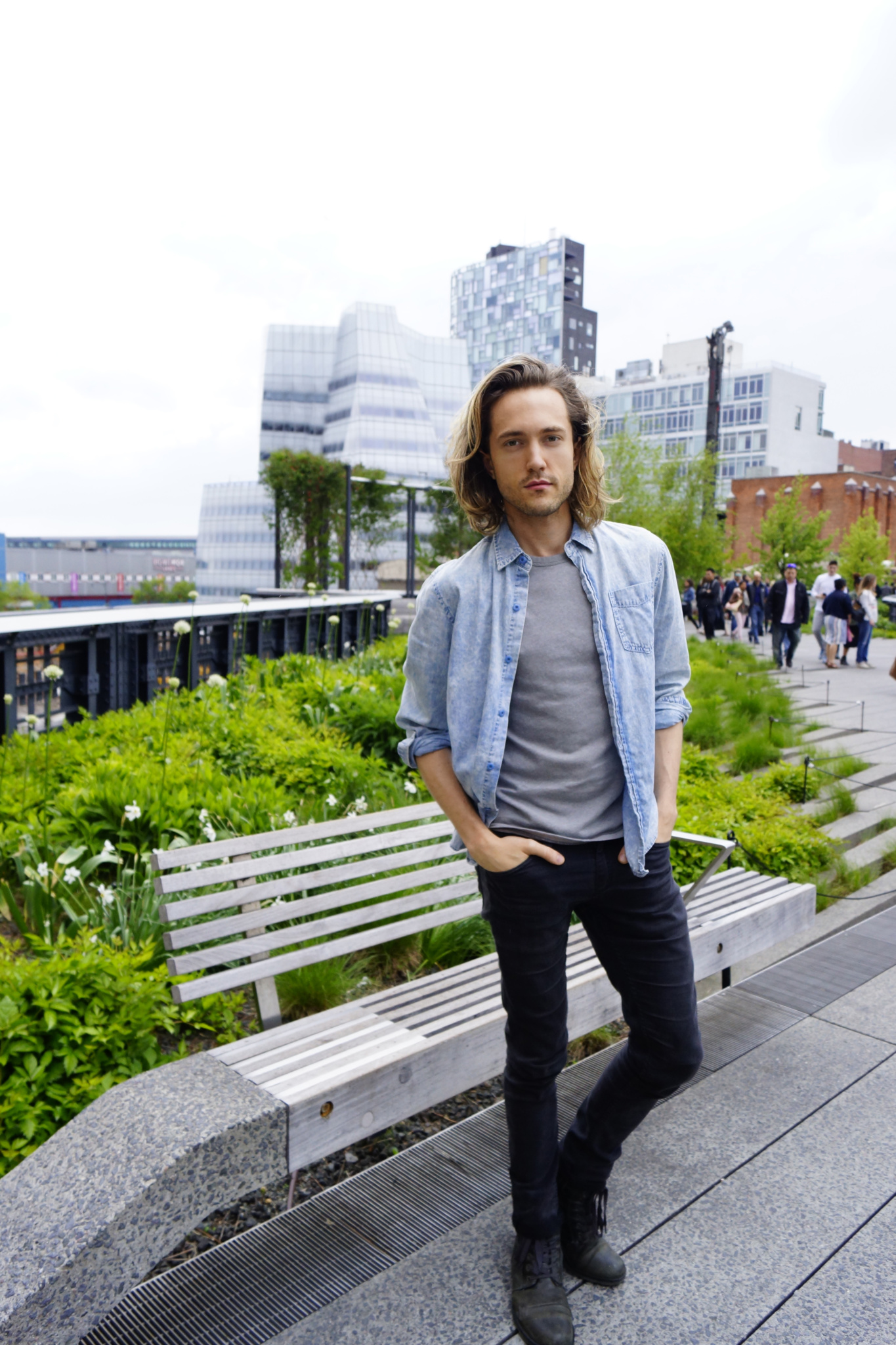 H & M - H&M Black Denim Super Skinny Jeans - H&M Washed Denim Shirt Light Denim Blue - Alternative 50/50 Keeper Tee Smoke - Steve Madden Troopah Black Leather Boot - Charles and A Half - Shop The Look - Brunch - Tipsy Parson - The Chelsea High Line - The High Line - New York City - NYC - TheKillerLook.com - The Killer Look