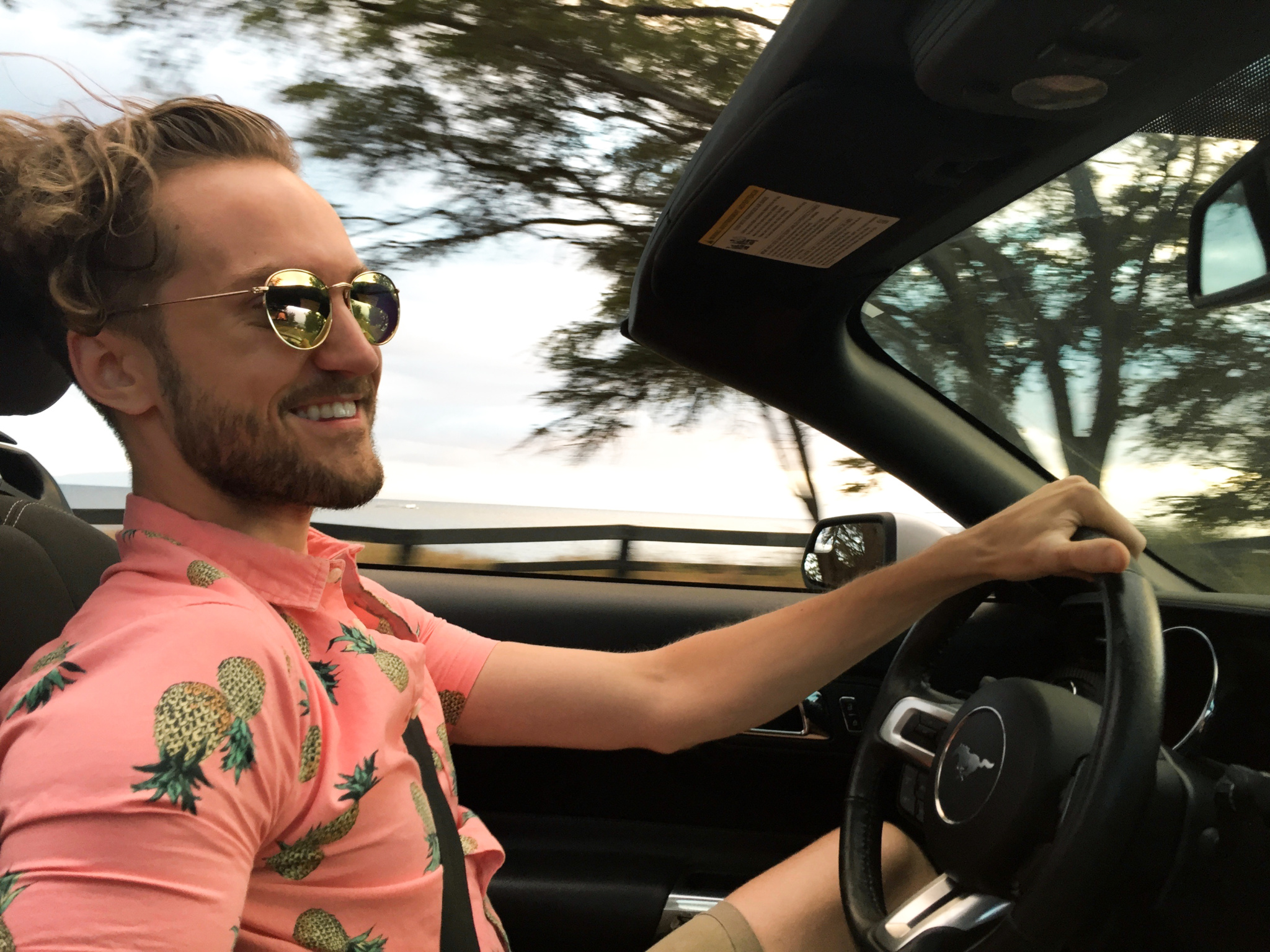 Urban Outfitters Pineapple Short Sleeve Button Down Drive Lahaina Lāhainā Maui Hawaii - Ford Mustang Convertible Top Down - Ray Ban - Ray-Ban - Sojos Vision Eyewear - The Killer Look Travels - KillerTravel - Killer Travel - Steven Killian - TheKillerLook.com - The Killer Look