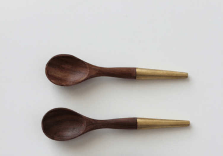 Indian rosewood and brass spoons by Boomisch