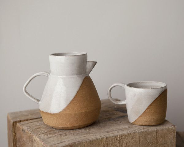 Wheel-thrown pitcher and mug by Helen Levi