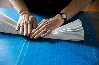 Folded shibori technique.