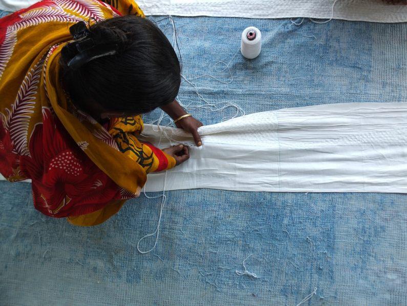 Shibori stitching