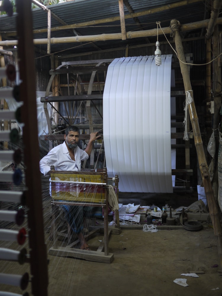 Sirajganj weaving workshop scene – Handmade Textiles of Bangladesh