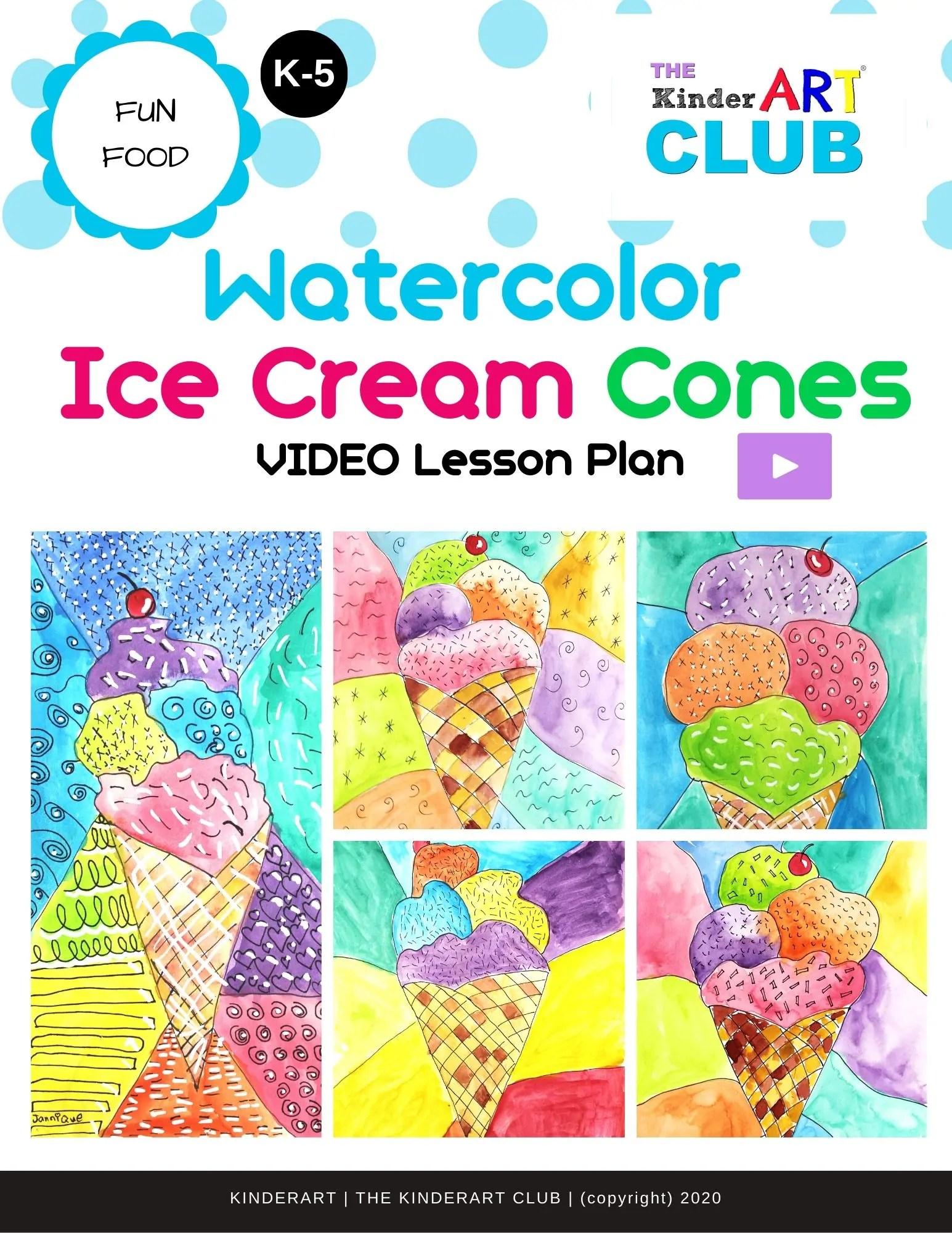 Lesson Watercolor Ice Cream Cones