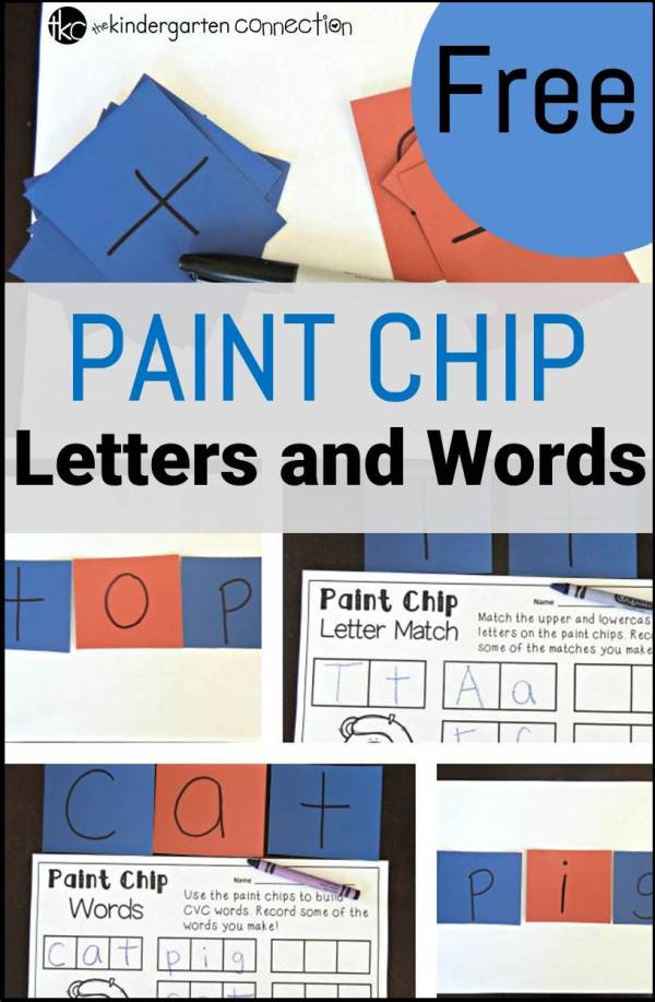 Paint Chip Letters and Words - The Kindergarten Connection