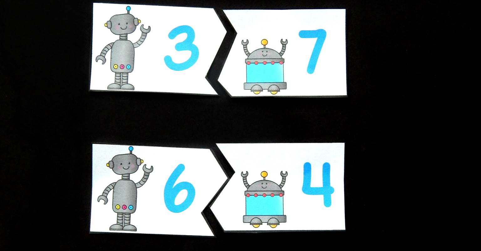 Free Printable Robot Sums Of 10 Puzzles