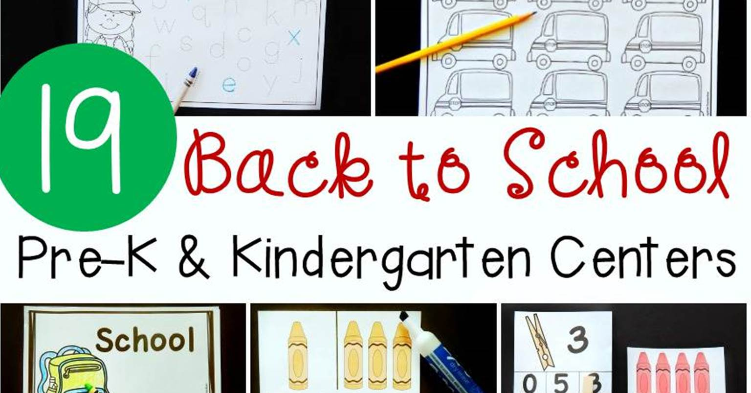 Pre K And Kindergarten Back To School Activities And Centers