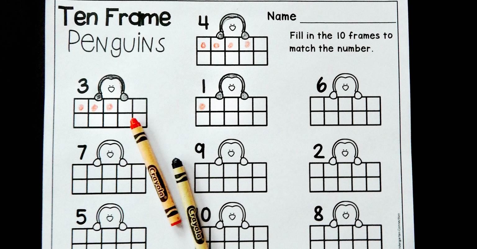 Penguin Ten Frame Counting Worksheet Kindergarten Winter Penguin Best Free Printable Worksheets