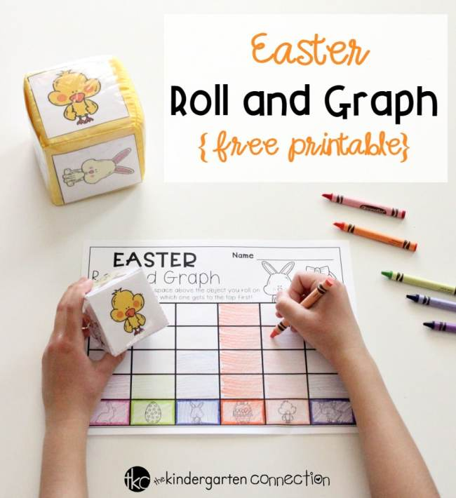 This free printable Roll and Graph Easter Math Activity is the perfect addition to your Kindergarten math center this Easter season!
