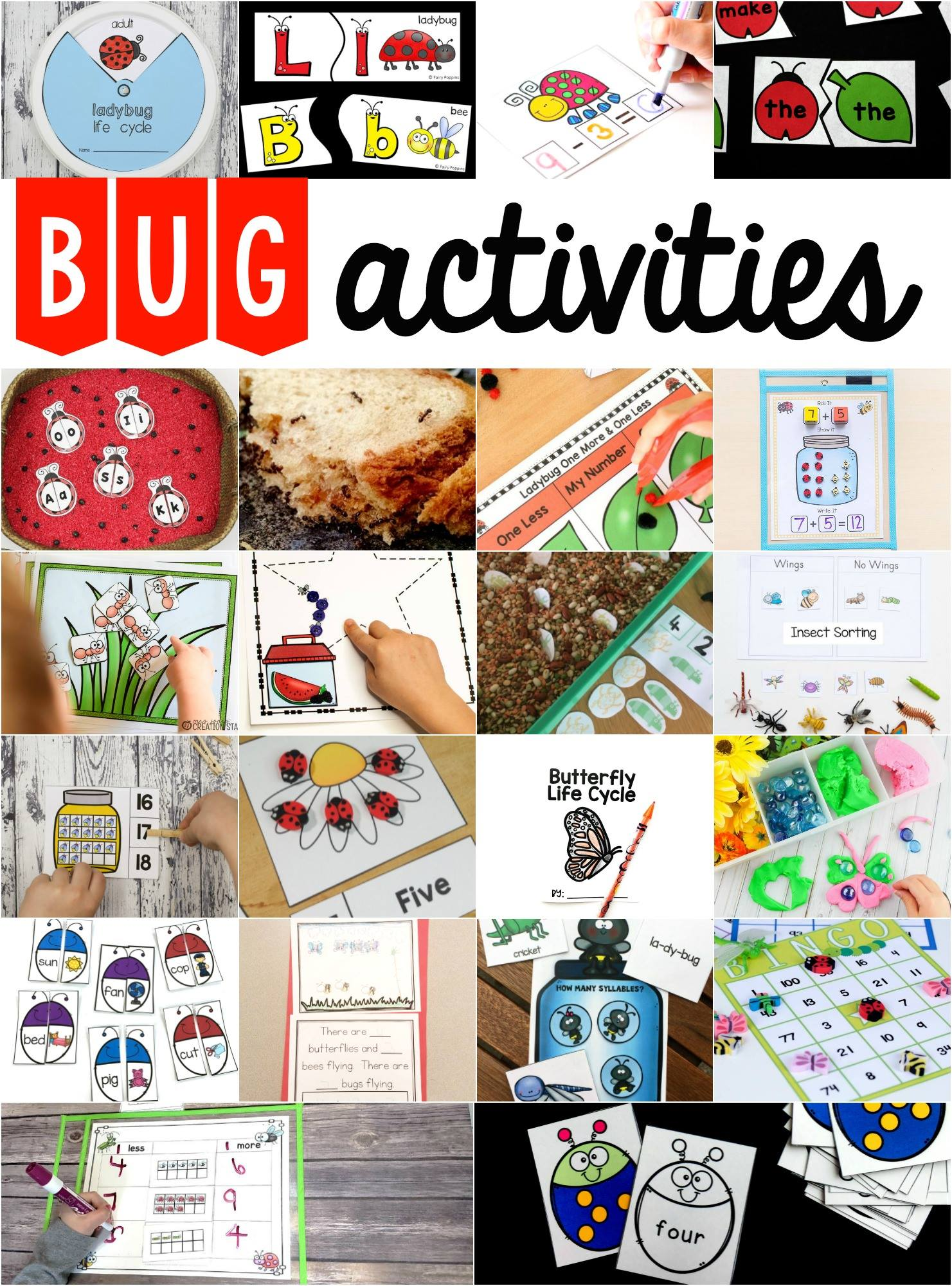 Bug Themed Subtraction Cards For Spring Math Centers