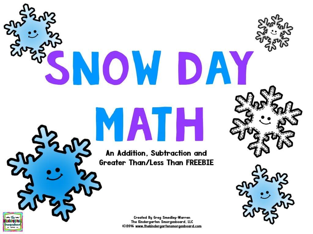Snowy Day Math Freebie