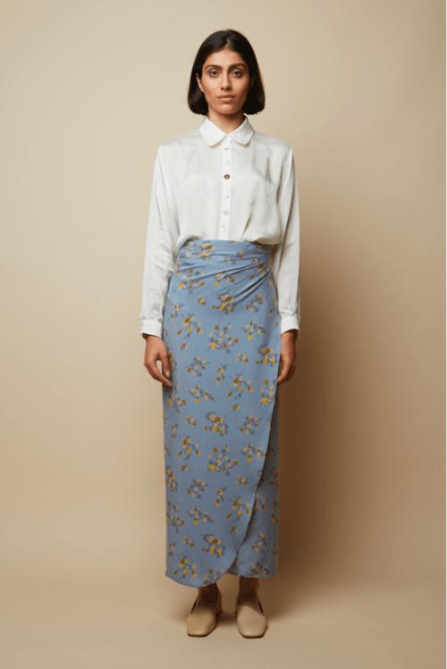 Wrap Flower Print Blu Skirt, £175 @rakha.co.uk