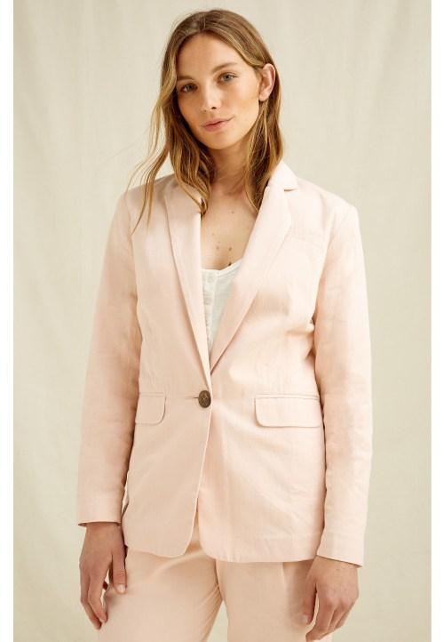Mirren Blazer In Pink, $151 @peopletree.co.uk
