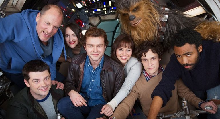 The cast and crew of the Han Solo Star Wars spinoff film - Phil Lord, Woody Harrelson, Phoebe Waller-Bridge, Alden Ehrenreich, Emilia Clarke, Joonas Suotamo as Chewbacca, co-director Phil Lord and Donald Glover
