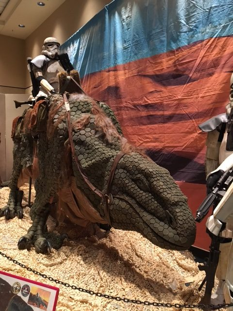"""""""Look sir! Droids!"""" A stormtrooper on a Dewback."""
