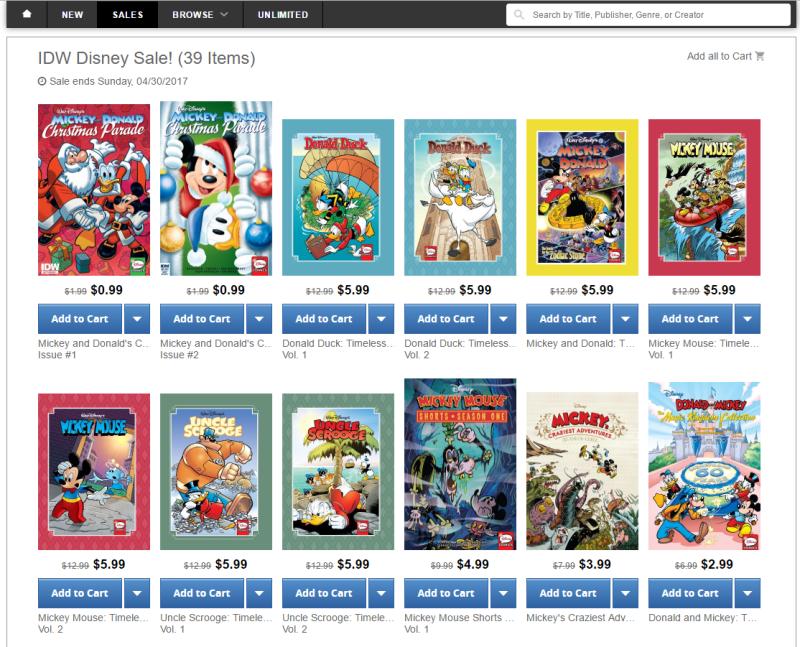 IDW Disney Comics | Half Price ComiXology sale