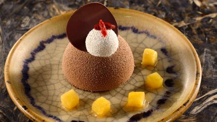 Chocolate Cake with a Crunchy Cookie, Banana Cream and Goji Berries