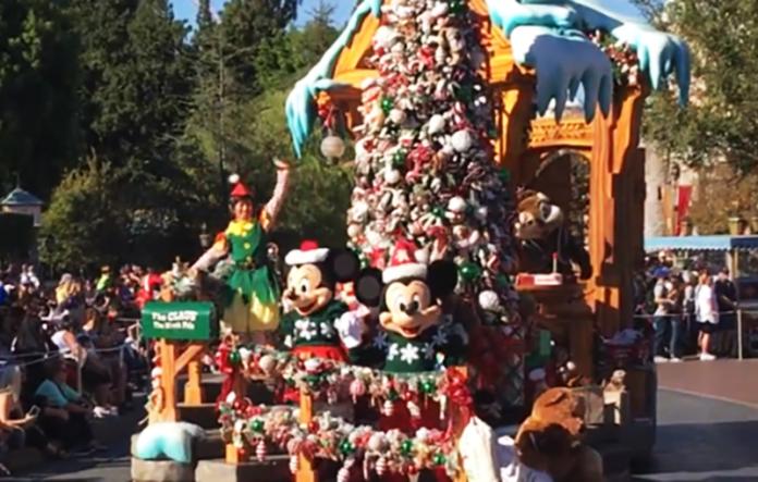 a christmas fantasy parade in disneyland