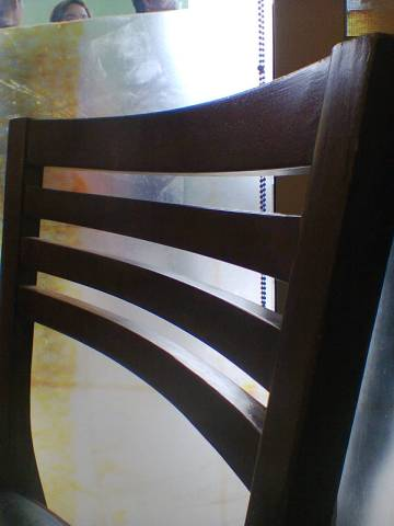 Lines: backrest of a chair at the restaurant