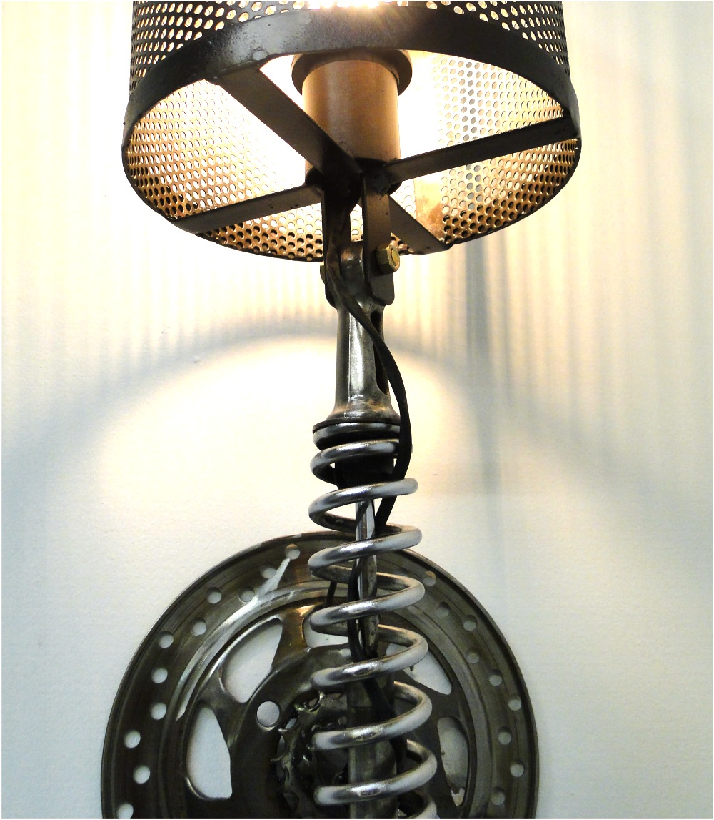 Wall Mount Motorcycle Clutch & Spring Sconce Light Fixture ... on Wall Sconce Parts id=21434