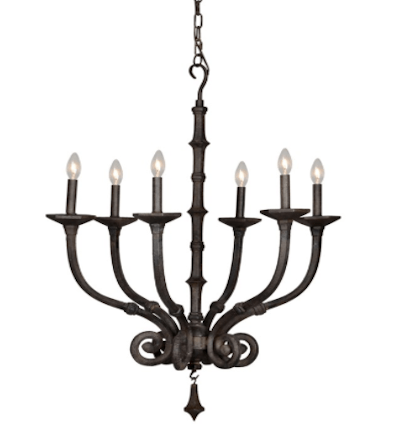 Farmhouse Chandelier Forged Iron Candlestick Design 6 Bulb
