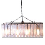 Rectangle Crystal Chandelier With Thick Glass Pendant Crystals Light Fixture The Kings Bay