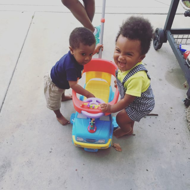 Santana and Jaxon javing fun during a play date