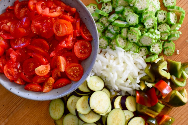Summer Stew Ingredients Chopped and Ready For The Pot