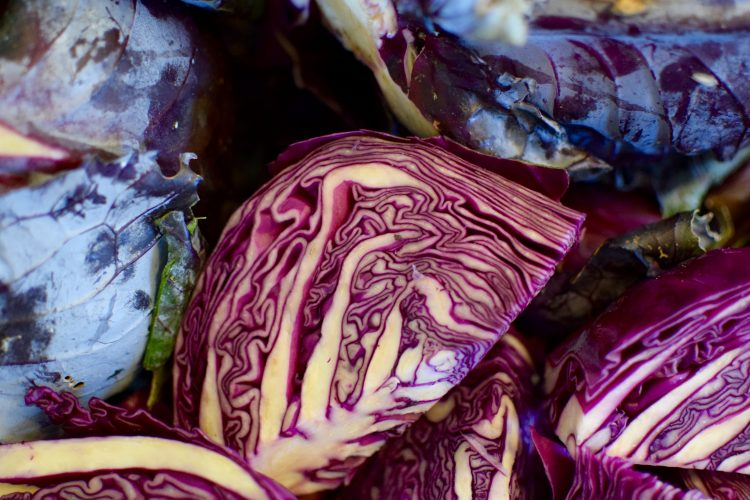 Red Cabbage Ready To Run Through The Vegetable Mandoline