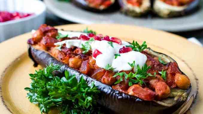 Stuffed Eggplants Recipe with Pomegranate and Tahini