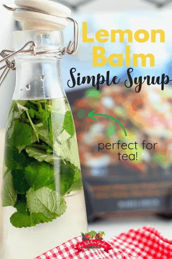 bottle of lemon balm simple syrup